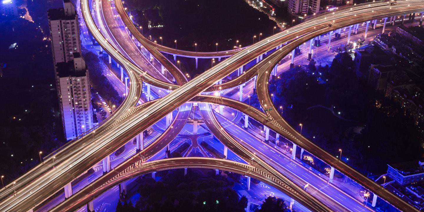 A traffic intersection in a major city.