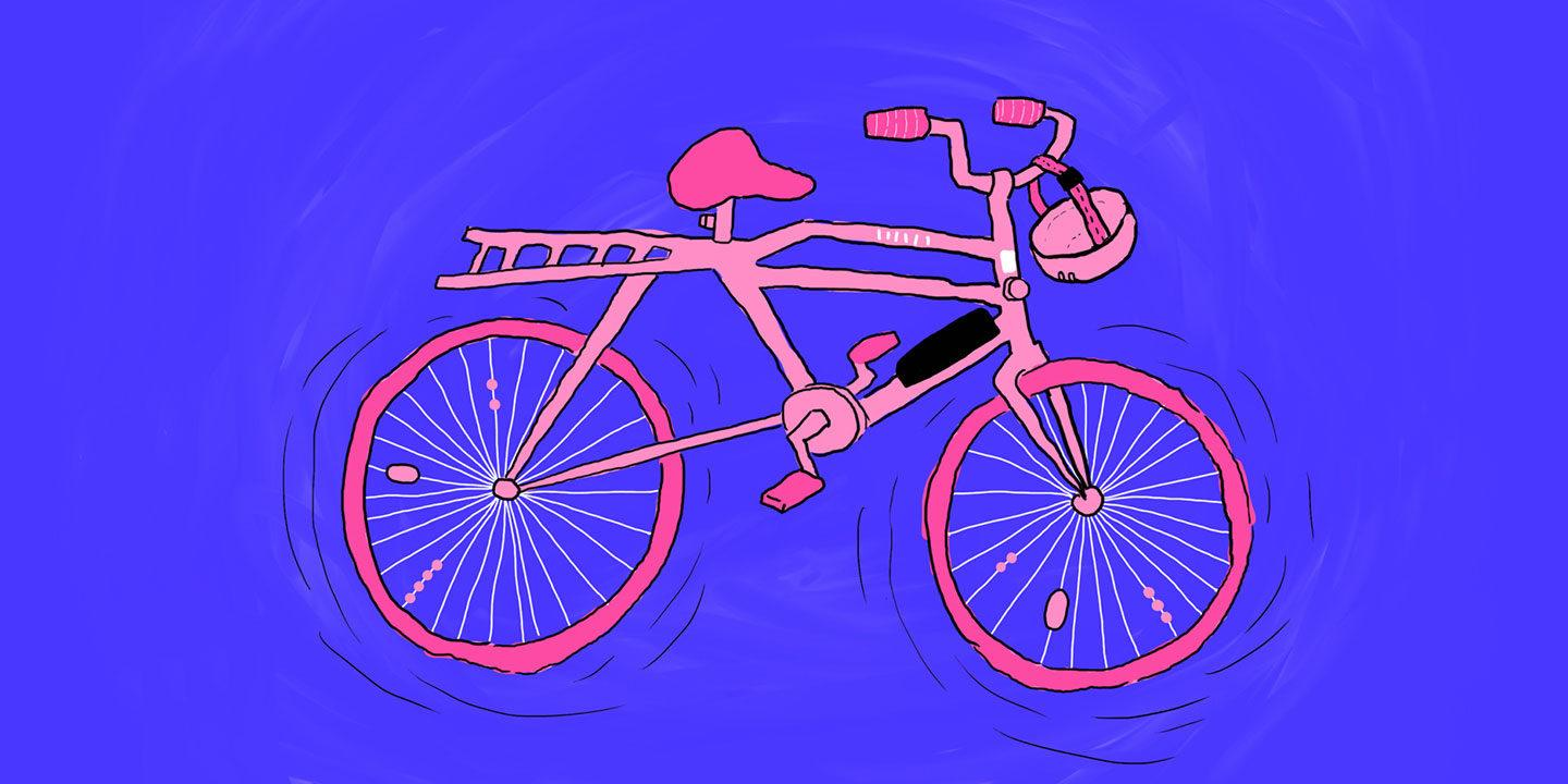 A pink bicycle and a helmet, illustration.