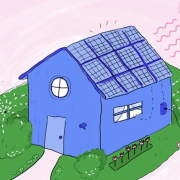 A house with solar panels on the roof and an electric vehicle being charged, illustration.