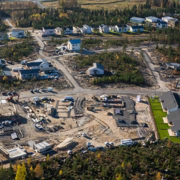 An aerial photo of the Resca-area's construction site.