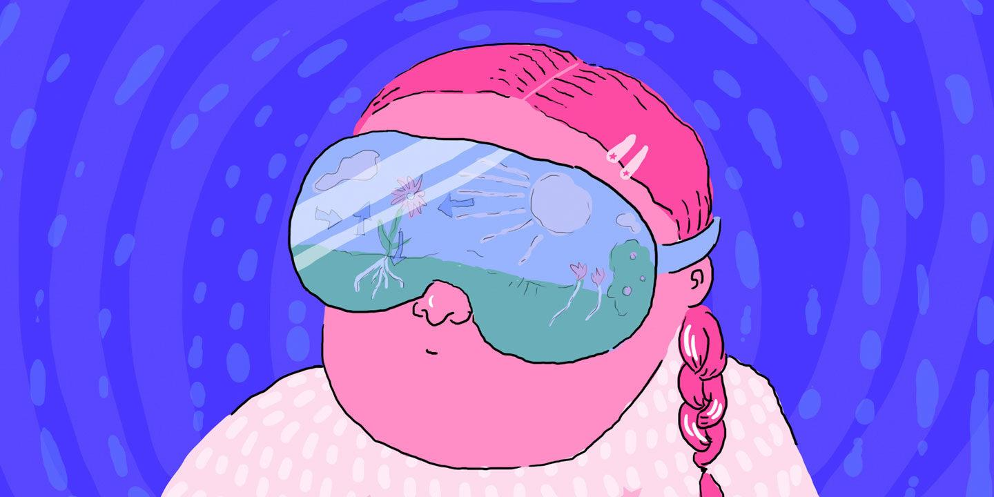A girl wearing virtual reality glasses, illustration.